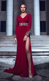 $enCountryForm.capitalKeyWord NZ - Sexy Beaded Crystals Red 2018 Evening Dresses V-neck Long Sleeves Sheath Prom Dresses Cheap Pageant Formal Party Gowns