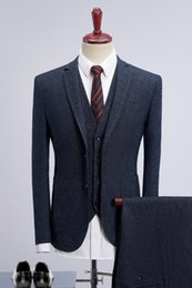 fly suits NZ - 2019 New Brand Two Buttons Notched Collar Three Piece Suits Wedding Tuxedos Dinner Party Prom Party Suit (Jacket+Pants+Vest)