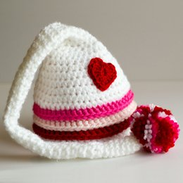 crochet long tail hats NZ - Adorable Valentines Hat ,Handmade Knit Crochet Baby Boy Girl Twins Striped Heart Hat,Newborn Long Tail Cap,Infant Toddler Photo Prop