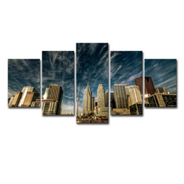 $enCountryForm.capitalKeyWord NZ - Canvas Poster Home Decor Wall Art Frame 5 Pieces Toronto Blue Sky Skyline Paintings Living Room HD Prints City Building Pictures