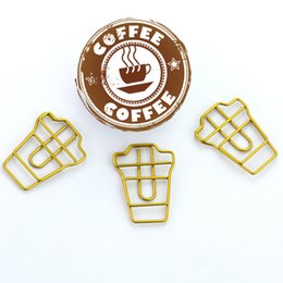 Wholesale TUTU coffee cup Shape Paper Clips Gold Color Funny Kawaii Bookmark Office School Stationery Marking Clips H0120