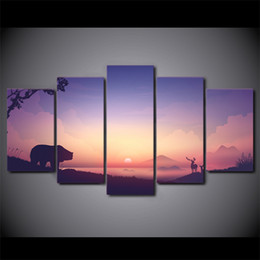 art canvas prints Australia - 5 Piece Canvas Art HD Print Home Decor sunrise bear deer Paintings For Living Room Wall Poster Picture Free Shipping UP-2311C