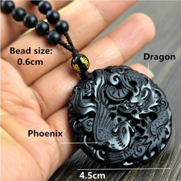 $enCountryForm.capitalKeyWord Australia - Dragon auspicious love forever natural obsidian necklace for women size 4.5cm Necklace jewelry long chain with pendant gift 0214