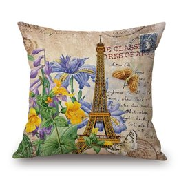 China Linen cushion sleeve 45X45cm sofa bedding pillow Box Retro architectural painting Decorative Throw Pillows cushion covers pillow cover cheap bedding beige suppliers