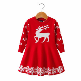 China 2018 Autumn Winter Christmas Girls princess dress Kid Sweater Cartoon deer Children Clothing Baby Knitted skirt Jumper Pullover cheap jumpers girls clothing suppliers