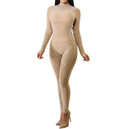 4db4ee1babe Sexy Bodycon Long Sleeve Sheer Jumpsuit Women Fashion Rhinestone Turtleneck  Mesh See-Through Romper Sparkly Party Club Overalls
