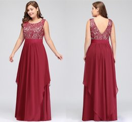 Discount lace bateau neckline bridesmaid dresses - Burgundy Plus Size Women Occasion Evening Prom Dresses Scoop Neckline A Line Lace Top Chiffon Long Bridesmaids Mother Dr
