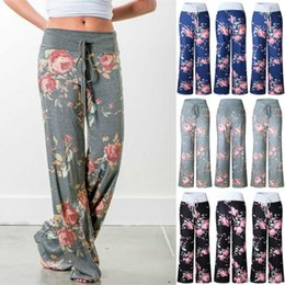 wide leg yoga pants UK - yoga pants LADIES FLORAL YOGA PALAZZO TROUSERS WOMENS SUMMER WIDE LEG PANTS PLUS SIZE 6-20