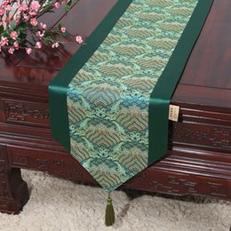 Dinner Table Cloth Australia - 300 cm Long Seawater Chinese Damask Table Runner Wedding Christmas Table Decoration Mat Dinner Party Silk Satin Table Cloth Coffee Tea Pads