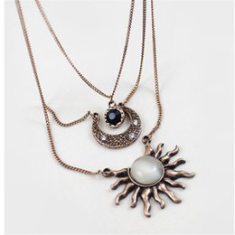 $enCountryForm.capitalKeyWord NZ - Retro Multi Layer Chain Long Necklace Vintage Sun Moon Pendants for Women Colar Party Necklace Handmade Gift Jewelry