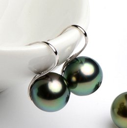 South Sea white Shell pearl online shopping - 12mm Tahitian Black South Sea Shell Pearl Silver Hook Dangle Earrings