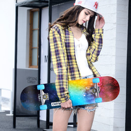 Four-wheel skateboard beginner, male, female, novice, double raised skateboard road adult children and teenagers professional skateboard car from professional fingerboards suppliers