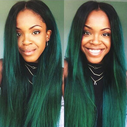 Green ombre weaves online shopping - Ombre B Green Brazilian Hair Weave Bundles Pieces Straight Human Hair Extensions Pre Colored Two Tones Dark Roots Remy Hair Extensions