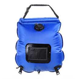 Discount heated camp shower - Summer outdoor camping hiking Self driving tour solar heating with Thermometer Folding High quality Hot Water Shower Bag