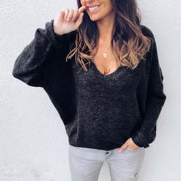 $enCountryForm.capitalKeyWord Australia - Fashion Women Loose Casual Long Sleeve T-Shirts Ladies Autumn Casual V-neck Solid Black Gray Tops