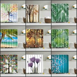Green Woods Shower Curtain Trees Plants Animals Theme Separate Heat Proof Bathroom Showers Curtains Home Textiles 32tz Gg