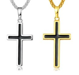 Wholesale 30pcs Latin Christian Cross Pendants Necklaces Religious Jewelry K Gold Plated Stainless Steel Fashion Cross Jewelry Gift R139