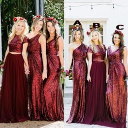 Borgoña Bling Lentejuelas Vestidos de dama de honor Ordenación mixta del país Fiesta de bodas por encargo Vestido de invitados Dos piezas Vestido de dama de honor junior Che en venta