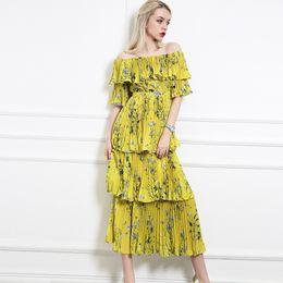 Summer Yellow Boho Dress 2018 Stampa floreale pieghettato donne Chiffon  Dress Off spalla Ruffle manica corta Bohemian Self Portrait Long Dress 510dcdaaf56
