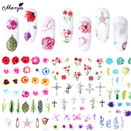 nail art series NZ - Monja 24 sheets Nail Art Flower Series Mixed Design Pattern Water Transfer Foil Decals Stickers DIY Decorations
