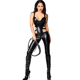 Discount women exotic costumes Summer New Fashion Style Sexy Women Exotic Apparel Black Bandage Hot Costume Strap Catsuit Body Suit Clubwear