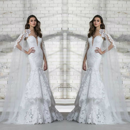 $enCountryForm.capitalKeyWord Australia - 2018 Pnina Tornai Wedding Dress Full Lace Appliques Deep V Neck Tiered Skirts Sequins Design Bridal Gowns With Long Wrap