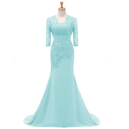 0fa287ecb 2018 fengyudress Light Blue Lace Madre de los vestidos de novia con chaqueta  1 2 Mangas Granos Sirena Vestido formal Vestidos de fiesta largos