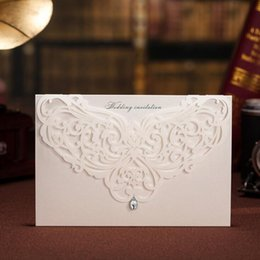 White cut floWers online shopping - Laser Cut Wedding Invitations White Beautiful Hollow Flowers Invitation Card For Party Birthday Free Printing CW5008