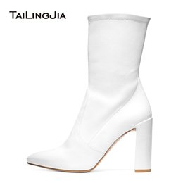 7f3cc9a110a Women Chunky Heel White PU Leather Sock Booties Black Stretch Mid Calf Boots  for Lady Pointy Toe Female Spring Autumn Shoes 2018