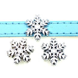 name beads wholesale NZ - 10PCs 8MM Enamel White Snowflake Slide Charms Beads Fit 8mm Pet Collar Name Belts Bracelets Tags