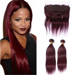 $enCountryForm.capitalKeyWord NZ - Indian Virgin Human Hair Burgundy Weave Bundles with Ear to Ear Frontal Straight 99J Wine Red 13x4 Lace Frontal Closure with Weaves