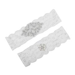 Sweet Bridal Leg Garters Prom Garter Encaje blanco nupcial boda Garter Belt 2 piezas set Encaje Rhinestones Cristales Perlas En Stock