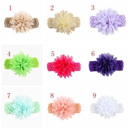 free peony flowers UK - Baby Chiffon crochet headhand Christmas Colorful Floral Elastic Peony flower Hairband hairbow Accessorie free shipping