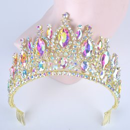 pageant queen 2019 - Queen style King Pageant half Crown for Wedding Tiaras Crown Big Hair band Crystal women Prom Party Headdress Hair Jewel