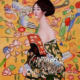 $enCountryForm.capitalKeyWord NZ - handmade oil painting wholesale oil painting reproduction of famous artist gustave klimt Signora con Ventaglio canvas art decoration of the