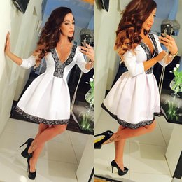 e0f9ba2d77 Black Knee Length Skater Dress Canada - Floral V-neck 3 4 Sleeve Lace  Splicing