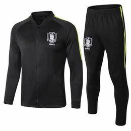 Korea suit man online shopping - 2018 Soccer Jacket Korea tracksuit Jacket Set Men Kit Black long sleeve Full zipper Training suit Sportswear Set