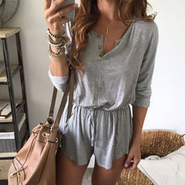 0bb478fa667 Jumpsuit Short Women Jumpsuit Solid Lace Up Loose V-Neck Causal Sexy  Macacao Feminino Curto
