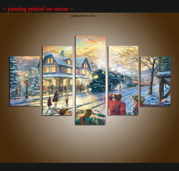 nude oils Canada - Large Modern Giclee Print Art Thomas Kinkade Landscape Oil Painting Canvas 5 Piece Christmas train picture for Living Room Home wall Decor