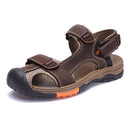 b2930b2a04d3 Leather Toe Loop Sandals Canada - Men s Summer Hiking Genuine Leather  Sandals Velcro Closed Toe Casual