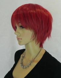 Женская средний прямой полный короткий красный цвет cur парик синтетический свет реальный красный короткие волосы косплей партии аниме парики волос на Распродаже