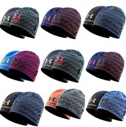 Luxury Brand UA Winter Beanie Reversible hats warm striped skullcap fleece  hat double side wear Beanies knitted ski outdoor caps best c1698355b76