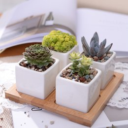bamboo stands 2019 - Set Of Minimalist Cube Flowerpot White Ceramic Succulent Plant Pot With Bamboo Stand Bonsai Planter Garden Supply Home D