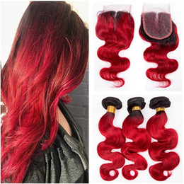 front lace closure ombre weaves Canada - Dark Root #1B Red Ombre Virgin Brazilian Human Hair Body Wave Weave Bundles with 4x4 Lace Front Closure Ombre Red Human Hair Wefts