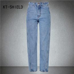 Boyfriend Trousers Canada - Wholesale-boyfriend ripped casual jeans womens High waist Slim fashion Light Blue mom denim pants cotton loose Straight Femme trousers