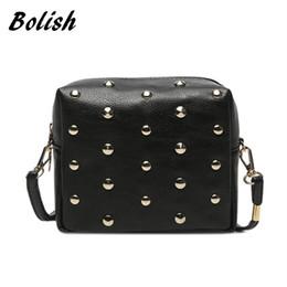 Bolish Rivet Women Bags Fashion metal bag Punk Mini Crossbody Bag Women Messenger  Bag Big Enough for IPhone 6 69a3c6dc19