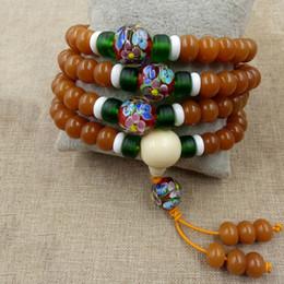 Natural Bodhi Bracelet Australia - Wholesale Weathering Natural Bodhi Bracelet 108 Buddha Bead With Green Glass Tibetan Men Women Hand String Mala Necklace