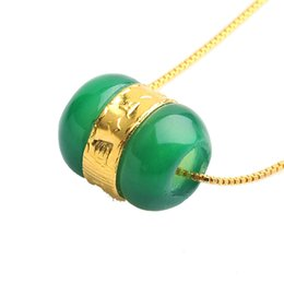Green Chalcedony Pendant NZ - Green Chalcedony 24K Gold Natural Jade Lucky Beads Women Fashion Pendant Free Send Silver Chain