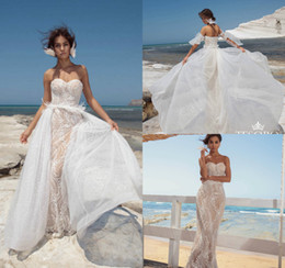 Discount wedding dresses feathers skirts - Berta 2019 Mermaid Wedding Dresses With Detachable Skirt Feather Sweetheart Lace Appliqued Detachable Sleeves Champagne