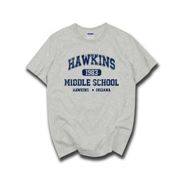 6642035f7 Stranger Things Hawkins High School Short Sleeve T Shirts Tee Tshirts 100%  Cotton Jersey Joggers Free Shipping
